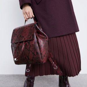 NWT Zara Python Burgundy Backpack 2024/004